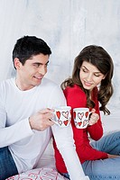 loving couple with cups