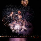 city, fireworks, landscape, scenery, river, city scenery, night