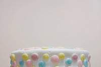 Cake decorated with candies close_up