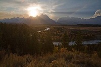 Sunset over the mountains, Snake River, Grand Teton National Park, Wyoming, USA