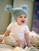 Close_up of a baby girl laughing, Minneapolis, Minnesota, USA