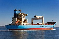 Container ship in a river, Cooper River, Charleston, South Carolina, USA