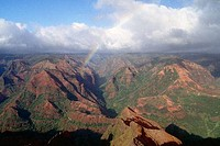 Aerial view of a canyon, Waimea Canyon, Kauai, Hawaii, USA