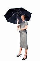 Businesswoman with umbrella, cut out (thumbnail)