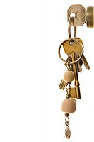 Keys on keying in lock, close-up, side view, cut out (thumbnail)
