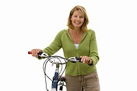 Senior woman holding bicycle handle bars, cut out (thumbnail)