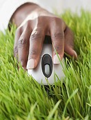 African woman using computer mouse in grass