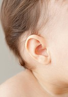 Close up of mixed race baby girl&#213;s ear