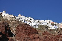 Oia, viewed from Ammoudi village. Oia, Santorini, Cyclades, Greece, Europe
