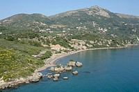 South_East aerial view of Porto Zoro beach. Zakynthos, Ionian Islands, Greece, Europe