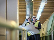 Workers With Plans In Plant