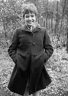 Sixties, black and white photo, people, young girl, coat, portrait, aged 18 to 22 years, Monika