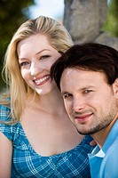 Germany, Bavaria, Upper Bavaria, Young couple, portrait, close_up