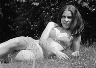Seventies, black and white photo, people, young girl in a bikini, portrait, aged 18 to 22 years, Gaby, Gabi