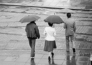 Eighties, black and white photo, family undertakes a walk in the rain, umbrellas, man, aged 40 to 50 years, woman, aged 30 to 40 years, boy, aged 14 t...