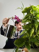 Businessman watering plant