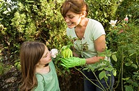 Mother and daughter in garden (thumbnail)