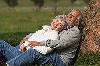 Austria, Karwendel, Senior couple in the countryside, embracing