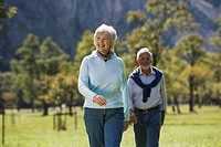 Austria, Karwendel, Senior couple walking across meadow