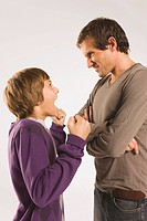 Father and son 13_14, face to face, arguing