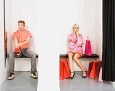 Couple in shop fitting room