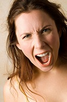 Young woman, Boiling with rage, close up