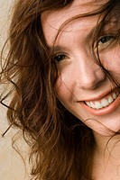 Young woman, Smiling, unkempt hair, close up