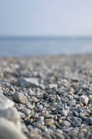 Germany, Pebbles on Lake Constance shore selective focus