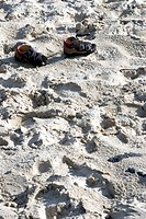Germany, Amrum, Children´s shoes in the sand