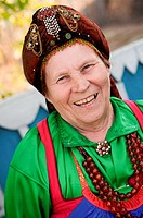 Russia. Tarbagatai Villlage of Old Believers of original Russian Orthodox. Village Woman. Zinaida. Leader of the ladies Bilina Choir