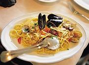 Seafood Spaghetti, Italian food, Portovenere, Italy