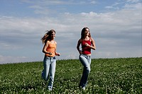 teenagers, jogging, grass, grassland, laughing, pe