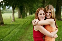 girls, embracing, laughing, nature, friends, portr