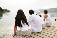 adults, relaxing, feel, lakeside, jetty, gentle, p