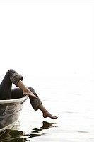 Female, leg, touching, water, boat, lake, relax, s (thumbnail)