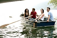 group, rowing, laughing, boat, lake, portrait, peo