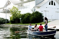 group, rowing, leisure, land, rowboat, friends, po