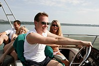 Young couple, driving, yacht, happy, fun, trip, po (thumbnail)