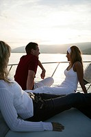 young adults, gentle, sunset, yacht, trip, portrai