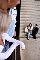 teenagers, watching, happy, stairs, friends, group