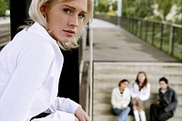 Beauty, blond, girl, stairs, friends, station, tee (thumbnail)