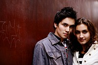 pretty, teenage couple, together, gentle, young ad