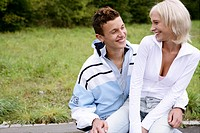Teenage couple, laughing, sitting, happy, young ad (thumbnail)