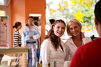 Girls, restaurant, checkout counter, teenagers, gi (thumbnail)