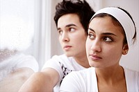 Teenage couple, silence, looking, window, portrait (thumbnail)