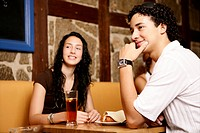 girl, boy, teenagers, sitting, restaurant, teens
