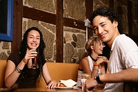 smiling, girl, boy, teenagers, restaurant, teens