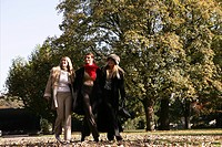 women, walking, beauty, autumn, park, smile, young