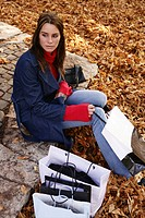 woman, watching, outdoor, shopping bags, park, urb