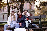 women, outdoor, watching, bench, urban, park, youn
